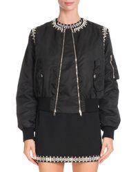 Givenchy   Black Crystal-trim Nylon Bomber Jacket   Lyst