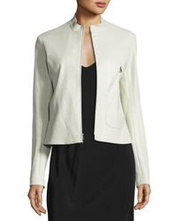 The Row | Natural Tripton Leather Zip Jacket | Lyst
