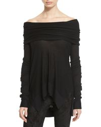 Urban Zen - Black Long-sleeve Off-the-shoulder Sweater - Lyst