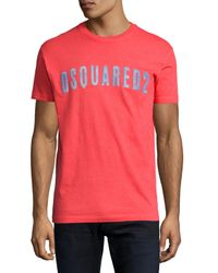 DSquared² | Red Faded Logo Graphic T-shirt for Men | Lyst