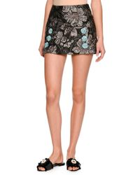 Dolce & Gabbana | Gray Floral Brocade Mini Skirt | Lyst
