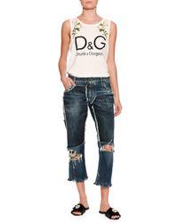 Dolce & Gabbana   Blue Distressed Denim Boyfriend Jeans   Lyst