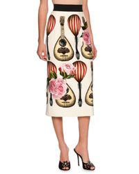 Dolce & Gabbana | Natural Guitar-embroidered Midi Skirt | Lyst