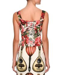 Dolce & Gabbana | Red Floral-print Bustier Top | Lyst