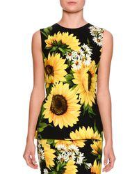 Dolce & Gabbana | Black Sleeveless Sunflower-print Cady Top | Lyst