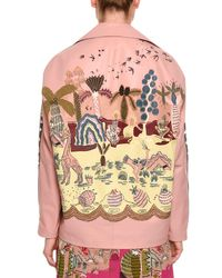 Valentino - Pink Jungle Of Delight Embroidered Leather Jacket - Lyst