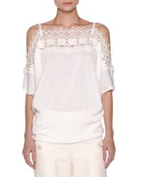 Agnona | White Off-shoulder Knit Lace Top | Lyst