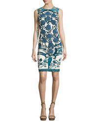 Roberto Cavalli | Blue Rose & Snake-print Jersey Sheath Dress | Lyst