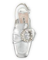 Miu Miu | Metallic Jeweled Slingback Loafer | Lyst