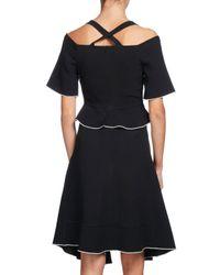 Proenza Schouler - Black Tipped Cold-shoulder Crepe Dress - Lyst