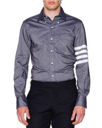 Thom Browne | Blue Crinkled Chambray Striped-sleeve Shirt for Men | Lyst