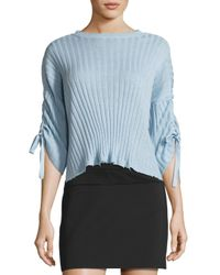 Helmut Lang | Blue Ribbed Cropped Cashmere Sweater | Lyst
