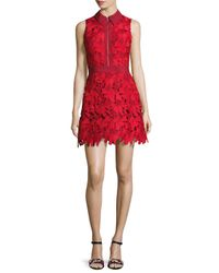 Alice + Olivia | Red Ellis Guipure Lace Sleeveless Zip-front Dress | Lyst