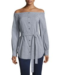 Michael Kors - Blue Gingham Off-the-shoulder Belted Tunic - Lyst