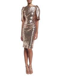 Talbot Runhof | Metallic Lobata Cape-sleeve Sequined Sheath Cocktail Dress | Lyst