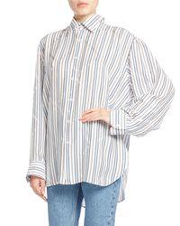 Balenciaga | White Star-striped Pinch-back Shirt | Lyst