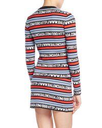 Balenciaga - Black Logo-stripe Long-sleeve Knit Top - Lyst
