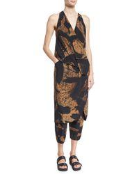 Urban Zen - Black Printed Silk Cropped Pajama Pants - Lyst
