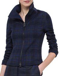 Akris - Blue Eda Fitted Plaid Wool Jacket - Lyst