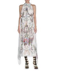 Fendi | White Blazon-floral Halter Maxi Dress | Lyst