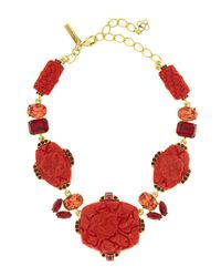 Oscar de la Renta | Red Floral Carved Resin Necklace | Lyst