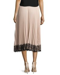 RED Valentino | Multicolor Pleated Lace-trim Midi Skirt | Lyst