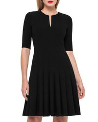 Akris | Black Elbow-sleeve Zip-front Dress | Lyst