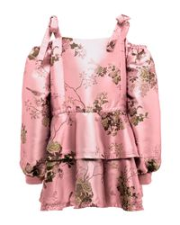 PUMA | Pink Floral Cold-shoulder Peplum Coat | Lyst