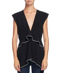 Proenza Schouler | Black V-neck Waisted Satin Top | Lyst