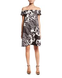 Halston - Black Off-the-shoulder Printed Cocktail Dress - Lyst