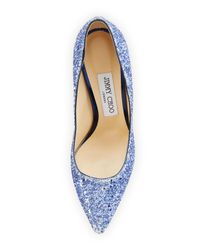 Jimmy Choo - Blue Romy Glittered 100mm Pump - Lyst