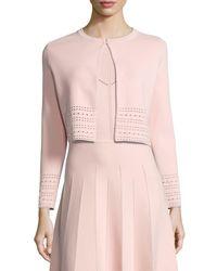 Lela Rose | Pink Pointelle Knit Crop Cardigan | Lyst