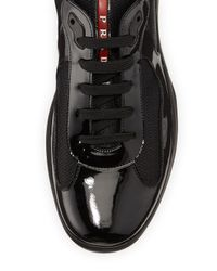 Prada - Black Punta Ala Leather Sneaker for Men - Lyst