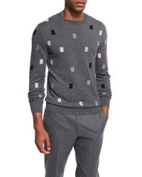 Ermenegildo Zegna - Gray Cashmere Rectangle Crewneck Sweater for Men - Lyst