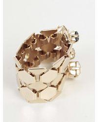 Lanvin - Metallic Crystal Embellished Ring - Lyst