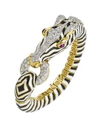 David Webb - Metallic 18k Gold, Platinum & Enamel Zebra Bracelet - Lyst
