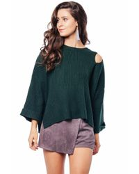 Beau Tissu - Green Ribbed Cutout Sweater - Lyst