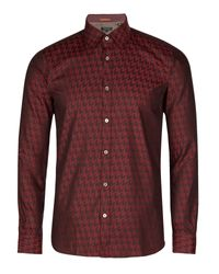 Ted Baker | Red Dogtooth Print Shirt for Men | Lyst