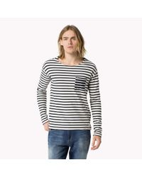 Tommy Hilfiger | Blue Cotton Striped T-shirt for Men | Lyst