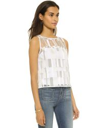 MILLY - White Cubist Shell Top - Stone - Lyst