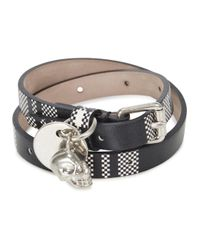 Alexander McQueen | Black Leather Double Wrap Bracelet for Men | Lyst