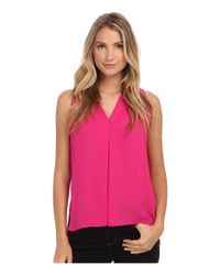 Vince Camuto | Pink Blouse W/ Inverted Front Pleat | Lyst