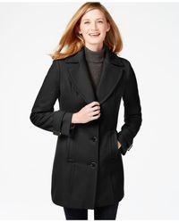 Calvin Klein | Black Seamed Walker Coat | Lyst