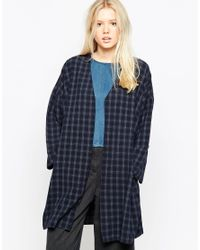 Native Youth | Blue Checked Duster Coat | Lyst