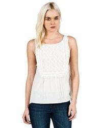 Volcom | White 'lost Highway' Crochet Bib Tank | Lyst