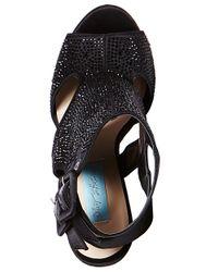 Betsey Johnson | Black Rhinestone-Studded Platform Sandals | Lyst