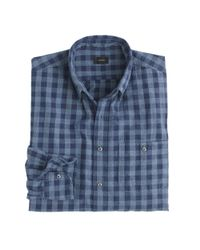 J.Crew | Blue Jaspé Cotton Shirt In Gingham for Men | Lyst