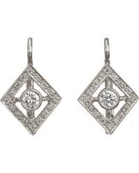 Cathy Waterman - White Frame Drop Earrings - Lyst