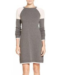 Eliza J | Gray Colorblock A-line Sweater Dress | Lyst