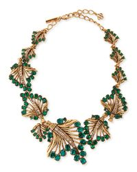 Oscar de la Renta - Green Cutout Jeweled Leaf Necklace - Lyst